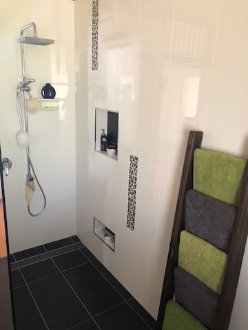 Open glass shower with products provided