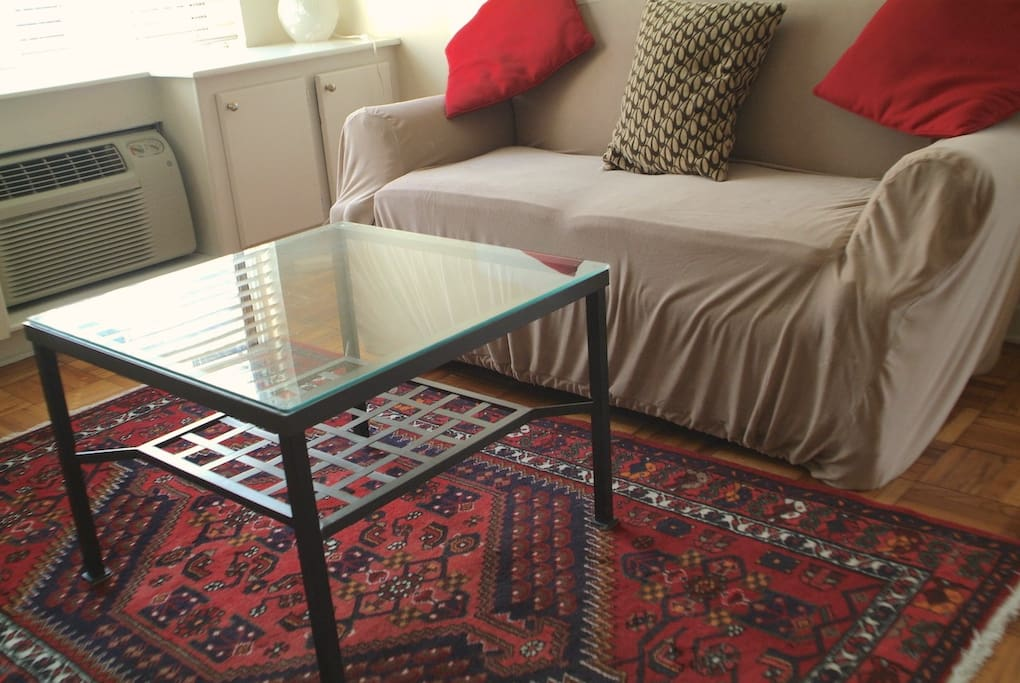 Low table and Turkish carpet on the floor of the living-room. (Cream sofa behind has been replaced last June 2017 by a green sofa bed.)