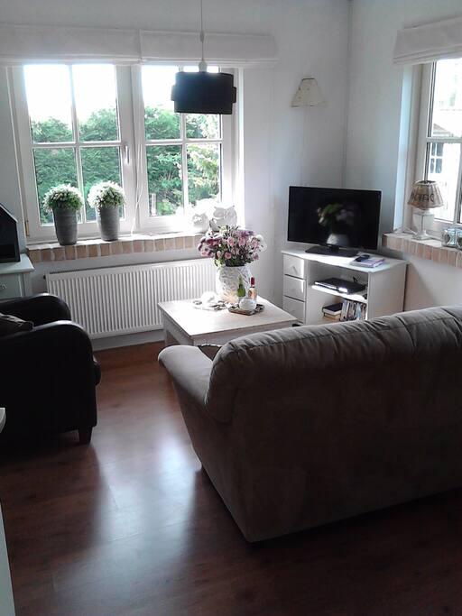 Smaakvol ingerichte woonkamer met flatscreen kabel tv en wifi.