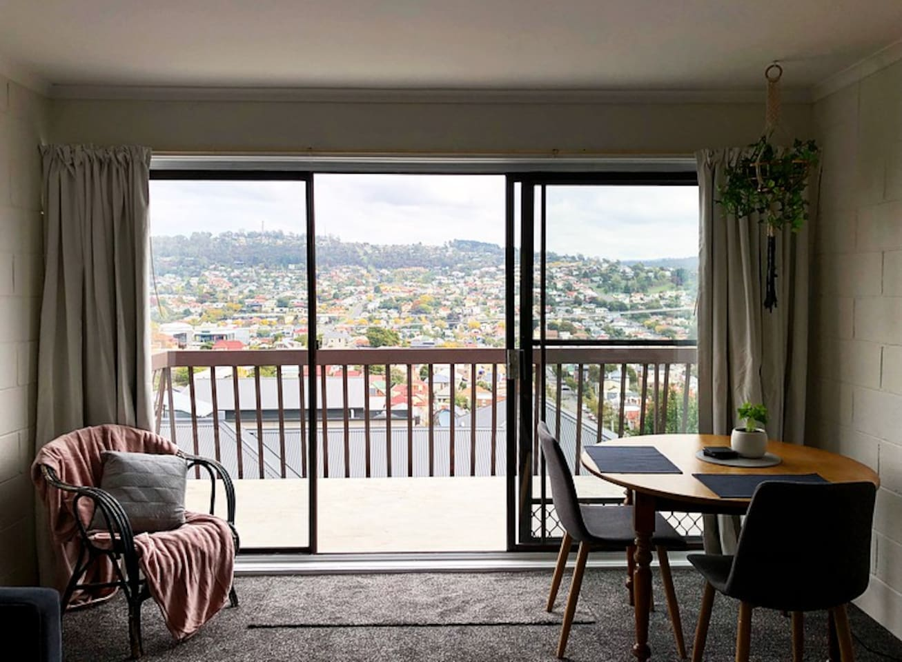 View onto the balcony from the main living space