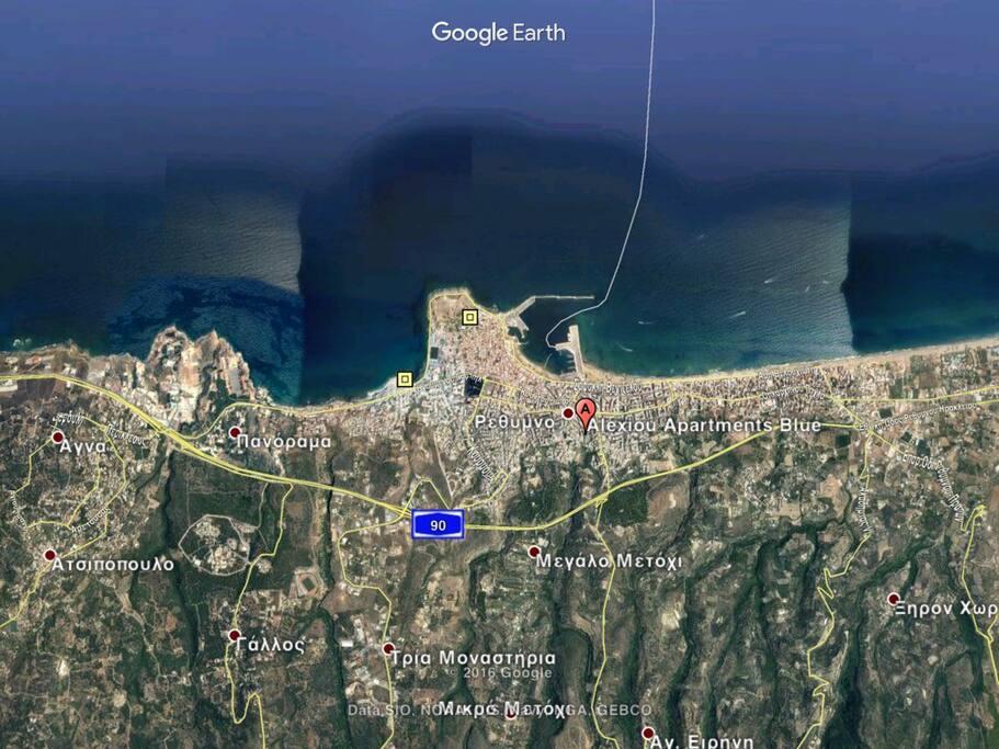 Google earth Rethymno view