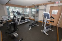 The on-site fitness facility has all you need to keep your gym routine on track