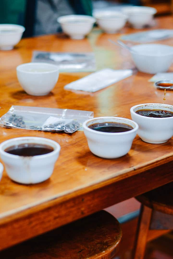 Preparing for a coffee cupping
