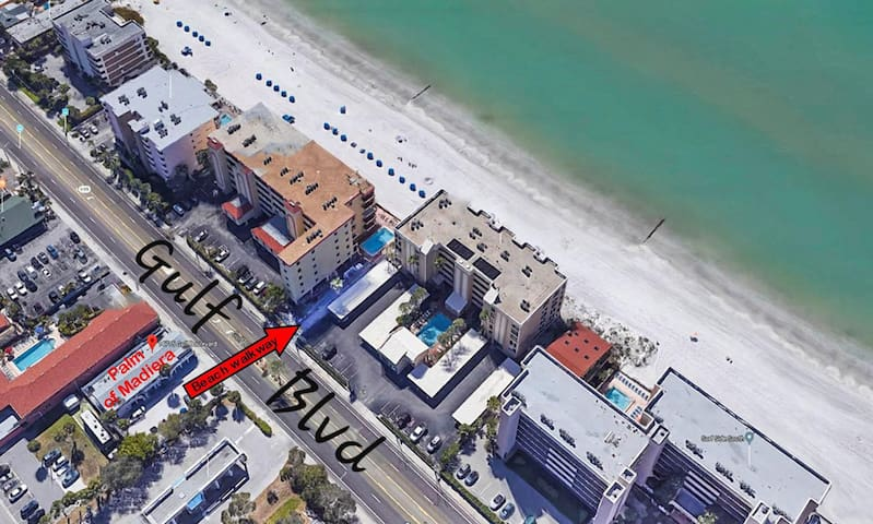 Just steps across pedestrian-friendly Gulf Blvd. places you  directly onto the white sands of Madeira Beach!