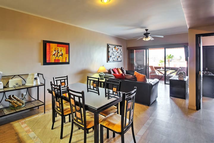 The spacious interior is tastefully decorated in comfortable furnishings and modern accents.