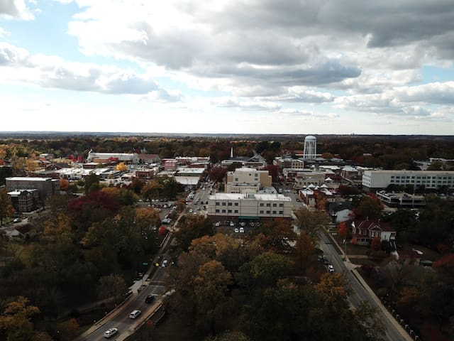Downtown Bentonville is literally steps away from Studio A on Central!  This aerial photo was taken from right above the apartment.  The road on your left is Central Avenue.  2nd Street is to your right.   You will be walking distance to all the fun!