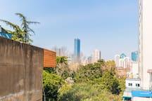 靠着襄阳公园可眺望到静安香格里拉的天台