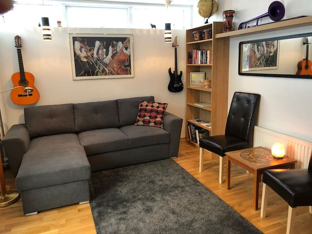 Entrance/living room with a sofabed comfortable for 2 adults.