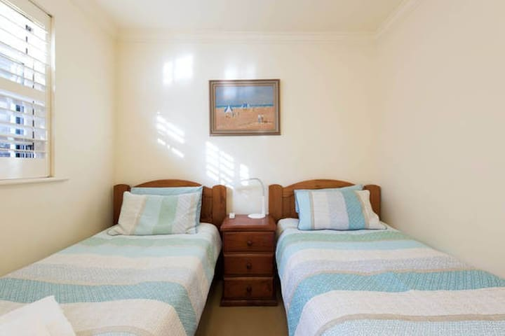 Single room with two comfortable single beds....
