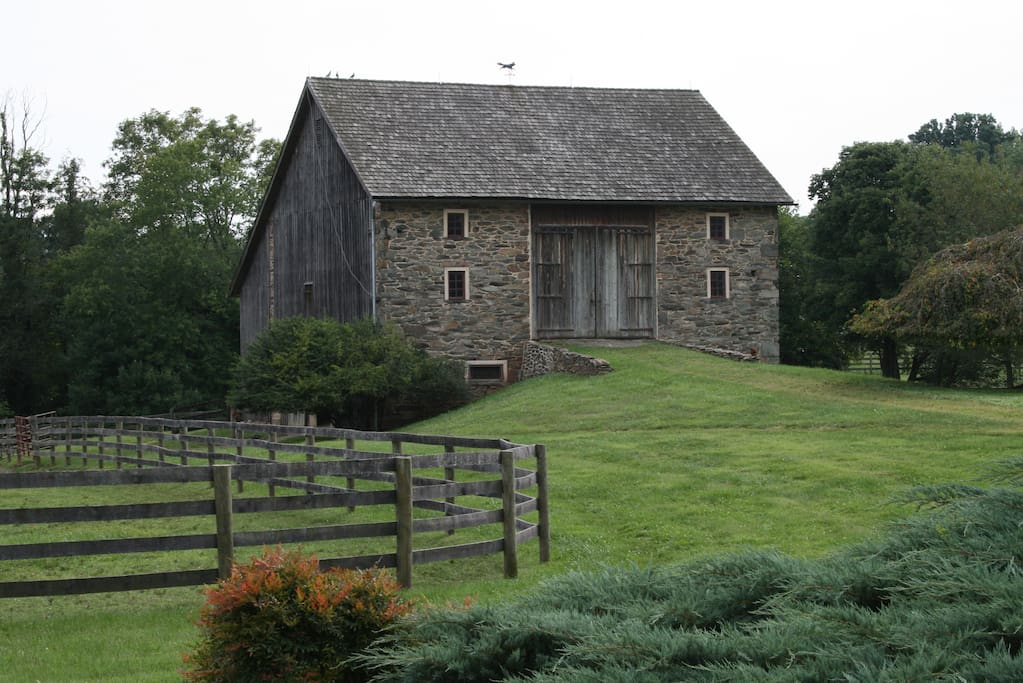 We think our stone barn is the prettiest in Loudoun County.  It was built in 1774 by a Scottish Quaker Thomas Gregg a 24 year old man with a vision.