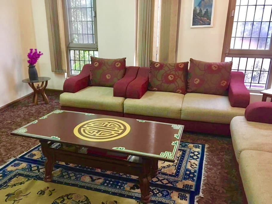 This the central living area where guests can relax and rest. Just opposite to this is the library where we have more than 500 collection of books including all genre from adventure, sports, fiction, non-fiction biography, Nepal map, and so on.