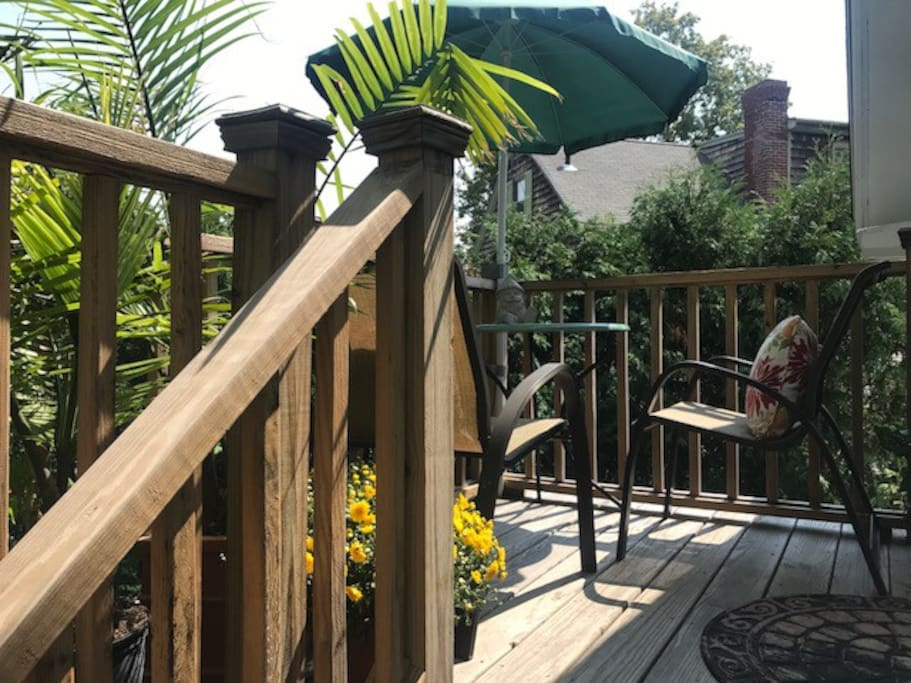 Walking up the private steps to your deck.