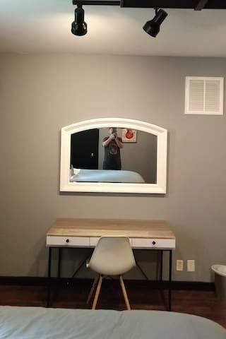 Spacious vanity/work space