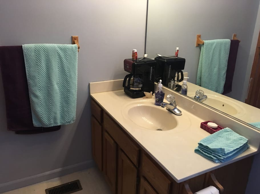 attached bathroom with blowdryer, toaster and coffee maker