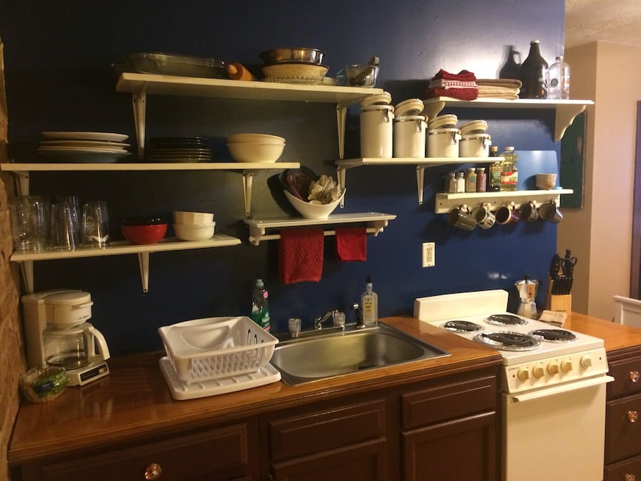 Full kitchen stocked with your cooking necessities. Full size fridge, coffee maker, stove/oven, pots & pans, etc.