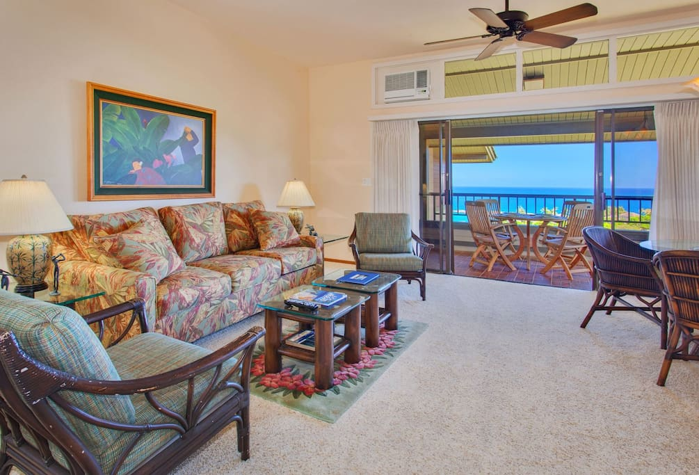 Enjoy stunning ocean views from the comfort of your living room