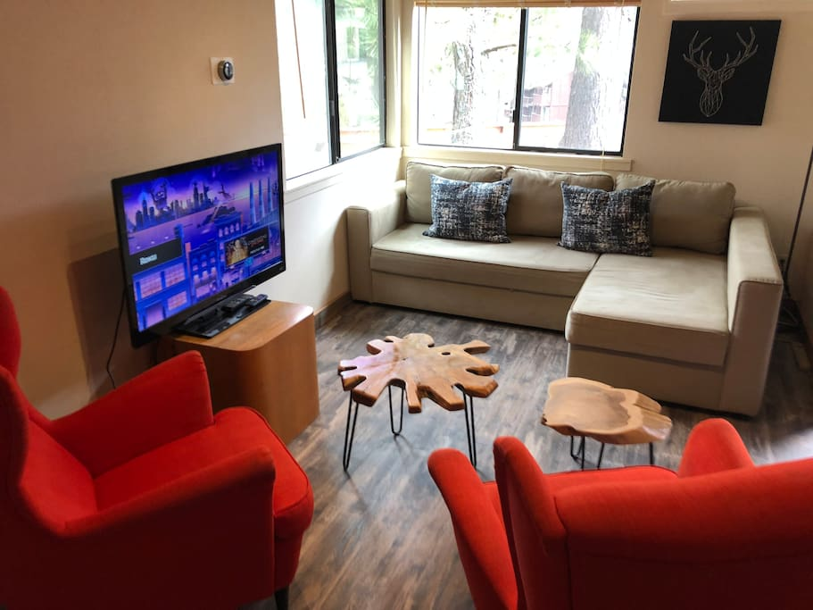 Living room with pull out couch and HDTV with Netflix!