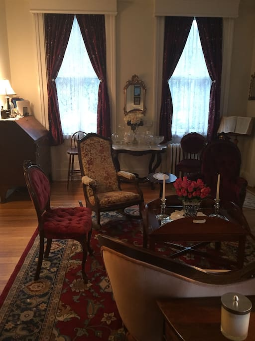 Enjoy the front parlor for reading and relaxing.