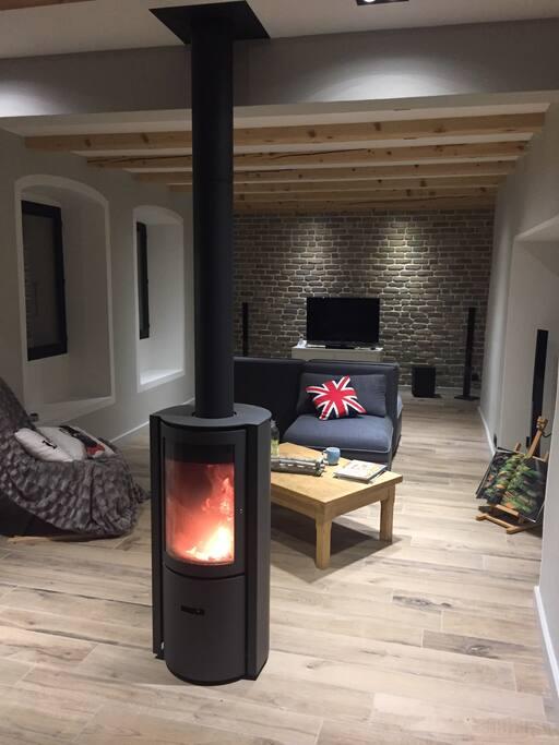 Double salon avec poêle à bois