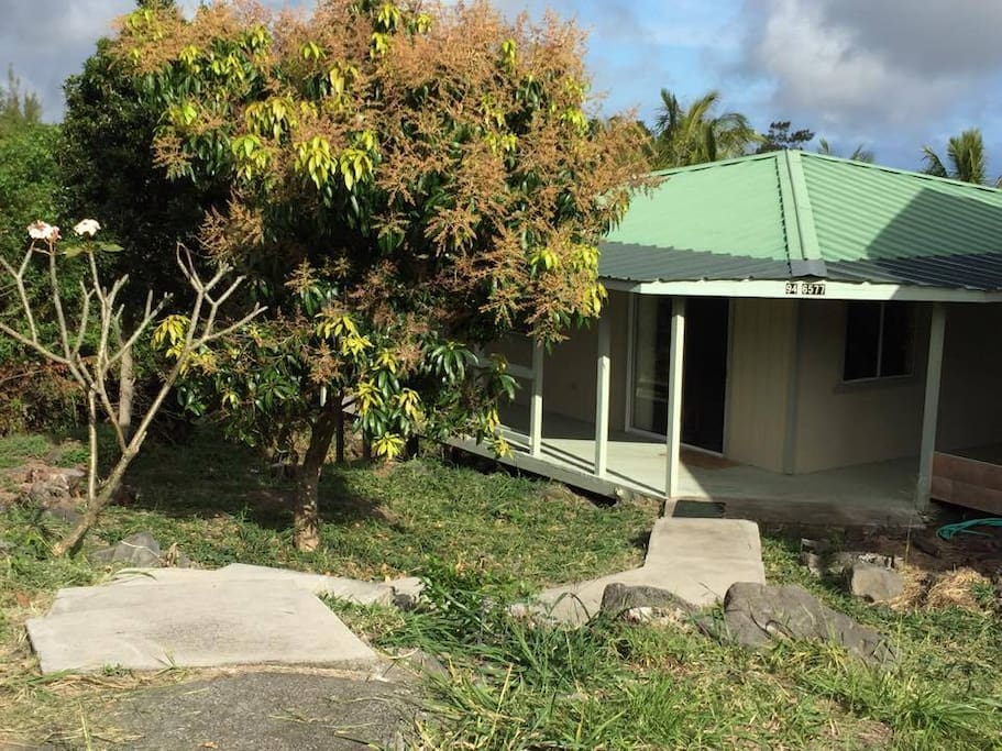 Cabana Cabin Front: As seen from road, solar entrance lights, cement steps, with fragrant Plumeria tree