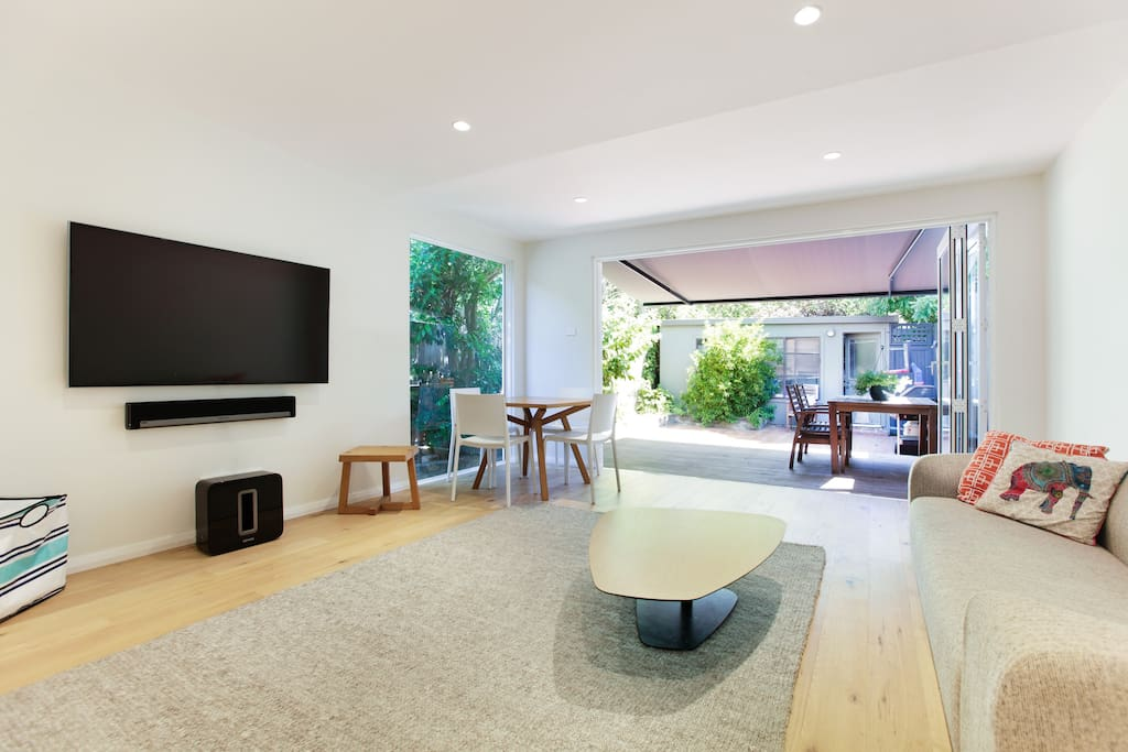 Lounge room with large TV/Foxtel