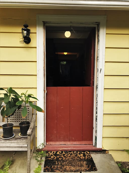 Farmhouse half-doors add old world charm.