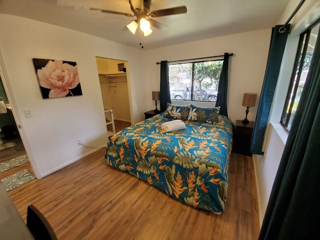 King bed, lots of natural light, quiet street