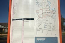 Bus route and timetable.