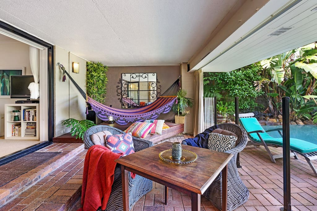 There's over 400 sqm of pool terrace, rainforest decks and garden to enjoy.  Note as of June 2017 this 4 seater table was replaced with an 8 seater extending table.