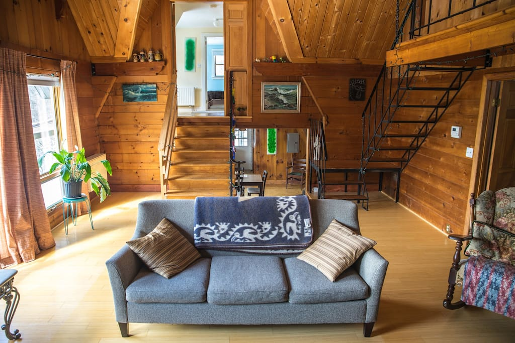 Comfortable couch, Cathedral ceilings and lots of light