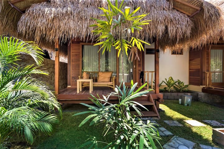 Balcony with traditional bamboo furniture