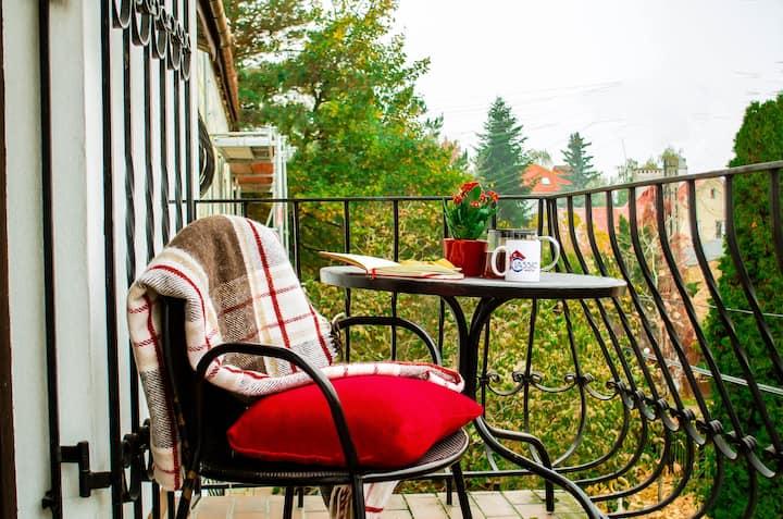 Pokój 3 , z oknem i widokiem na ogródek .