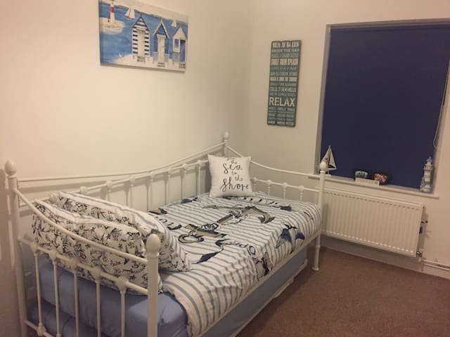 Newly decorated beach themed room