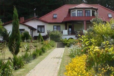 Dom nad jeziorem w lesie, apartament na piętrze