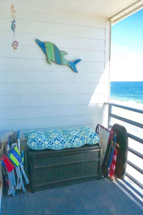 Plenty of beach chairs and toys for you to use. Rolling cooler as well