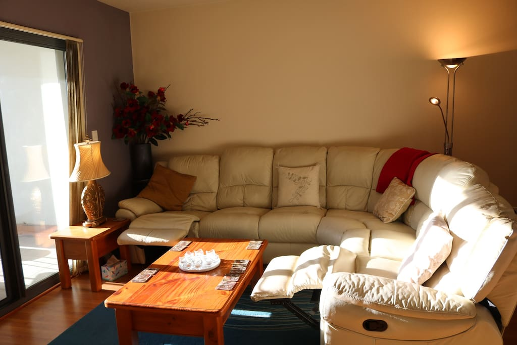Lounge in the afternoon sun showing two recliners.