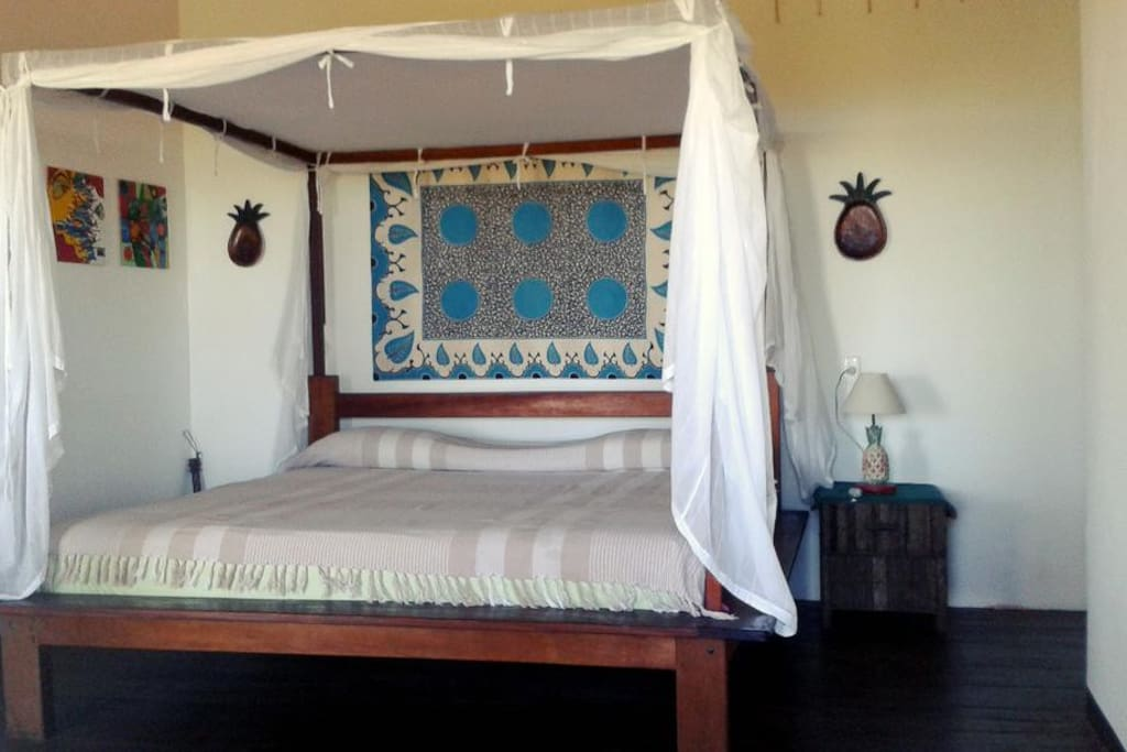 One of the 5 bedrooms within the property. King size bed. Has its own shower and bathroom (three showers and bathrooms within the bungalow in total).