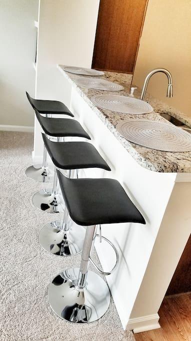 Barstools at kitchen island