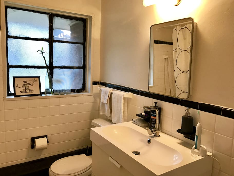 Updated bathroom with vintage tile.