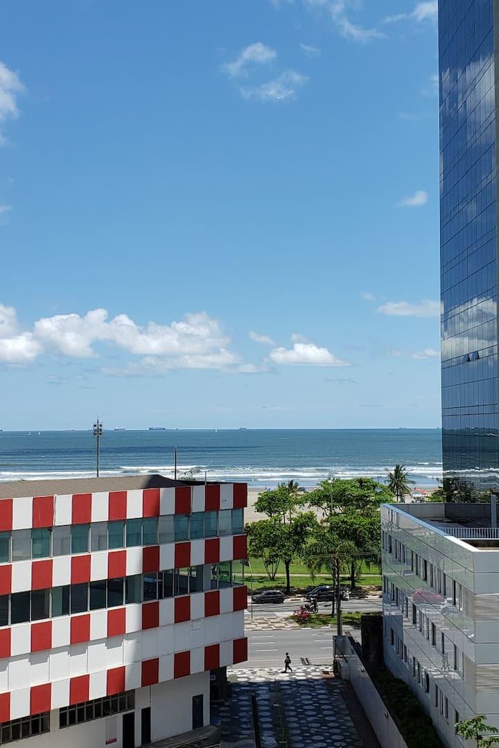 Apto Studio de frente para o mar - Canal 1 Santos