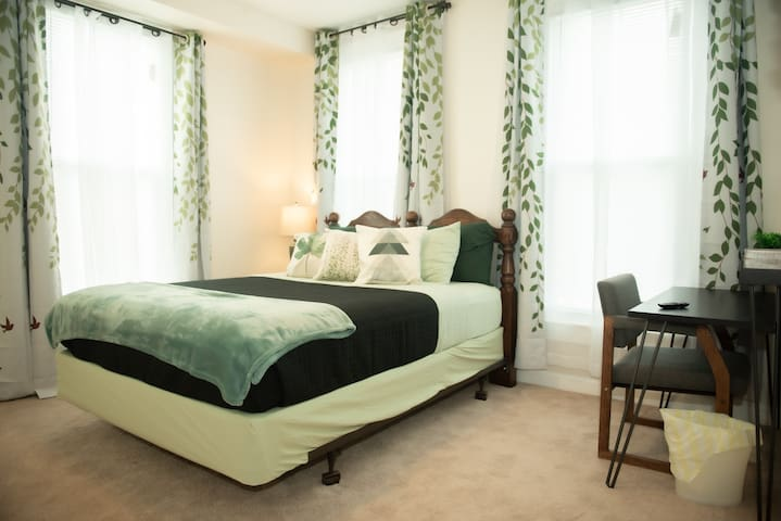 Serene Green Room comfy bed Near downtown Norfolk