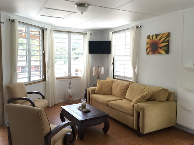 Living room. Smart TV with local TV channels and access to You Tube, Facebook, or you can use your Netflix account as well with our wifi service .