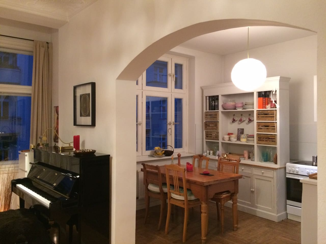 Spacious living room and kitchen