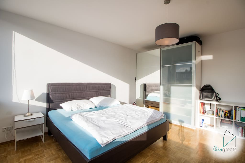 The large double bed offers you enough space.