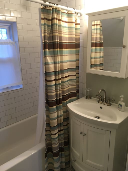 Private ensuite bathroom, newly remodeled with classic Victorian style.