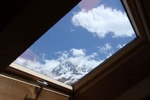 Aiguille du midi view from bedroom upstairs