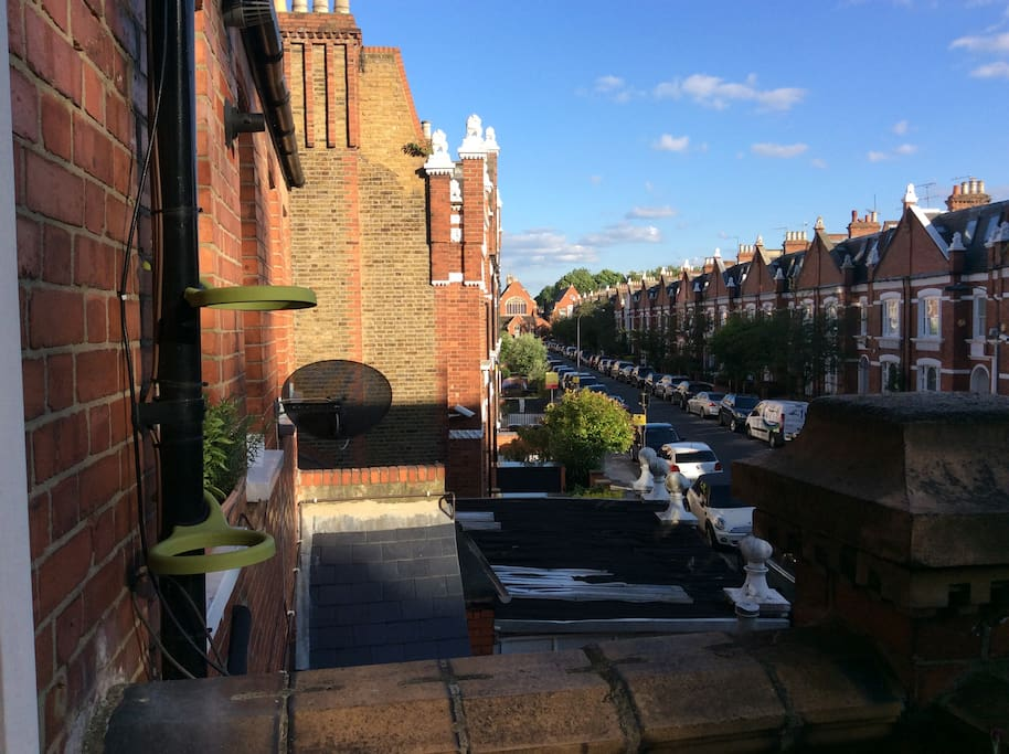 View from the balcony, beautiful red brick residential street
