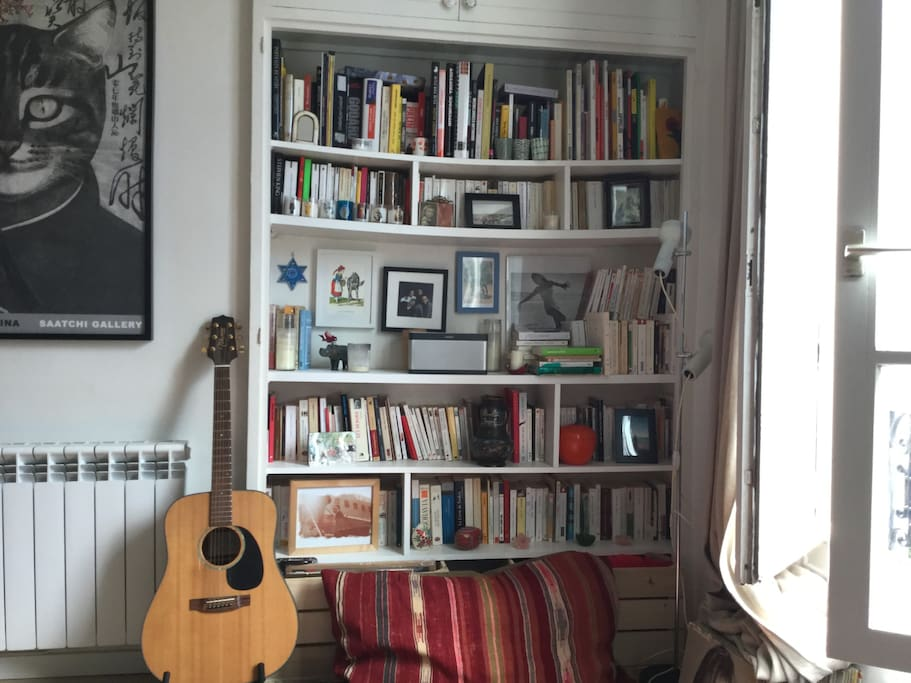Still the living room. Lots of books, some in english. I've DVDs too.