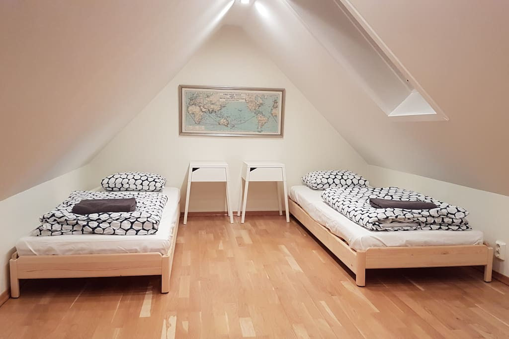 The loft space has two single beds that can be joined to make a large double