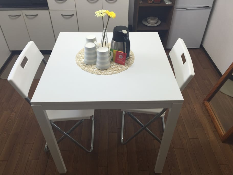 Table with free tea and coffee
